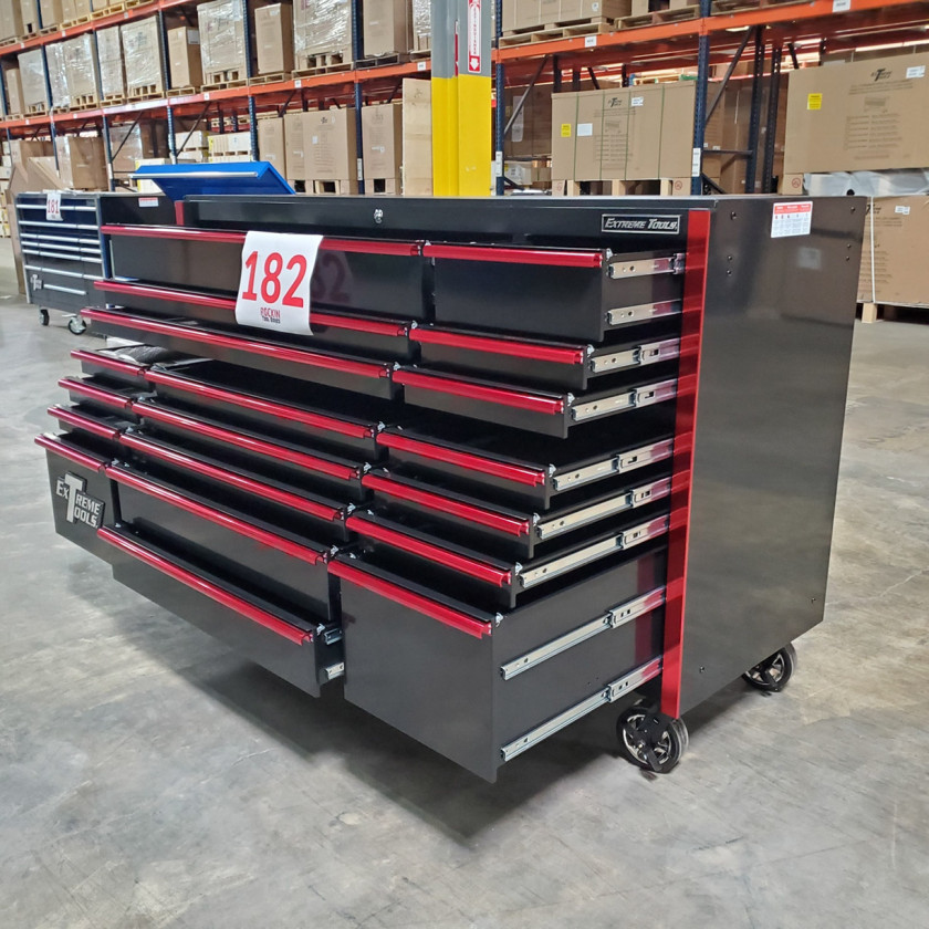 SD-RX722519RCBKRD - Showroom Demo - Extreme Tools RX Series 72 in. x 25 in. 19 Drawers Roller Cabinet, Orange, 150 lbs. Slides - Black-Red_13
