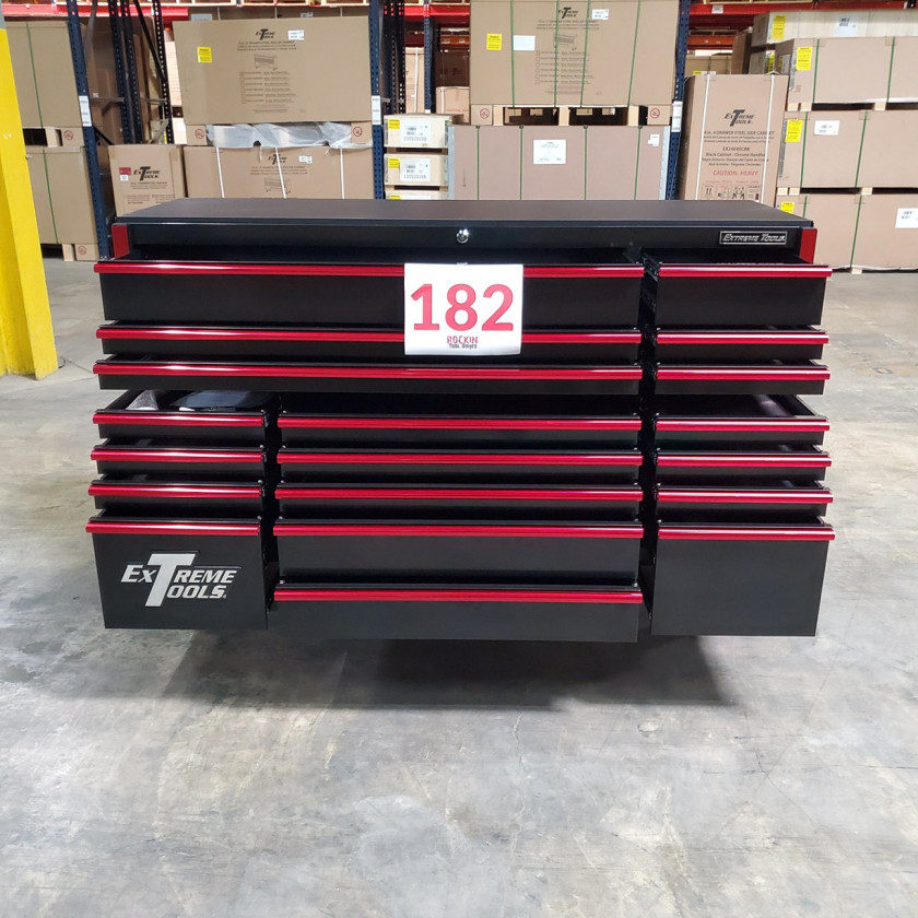 SD-RX722519RCBKRD - Showroom Demo - Extreme Tools RX Series 72 in. x 25 in. 19 Drawers Roller Cabinet, Orange, 150 lbs. Slides - Black-Red_14
