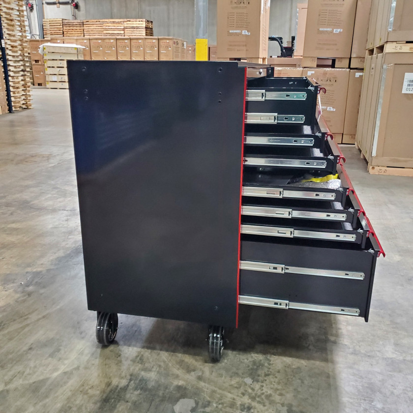 SD-RX722519RCBKRD - Showroom Demo - Extreme Tools RX Series 72 in. x 25 in. 19 Drawers Roller Cabinet, Orange, 150 lbs. Slides - Black-Red_19