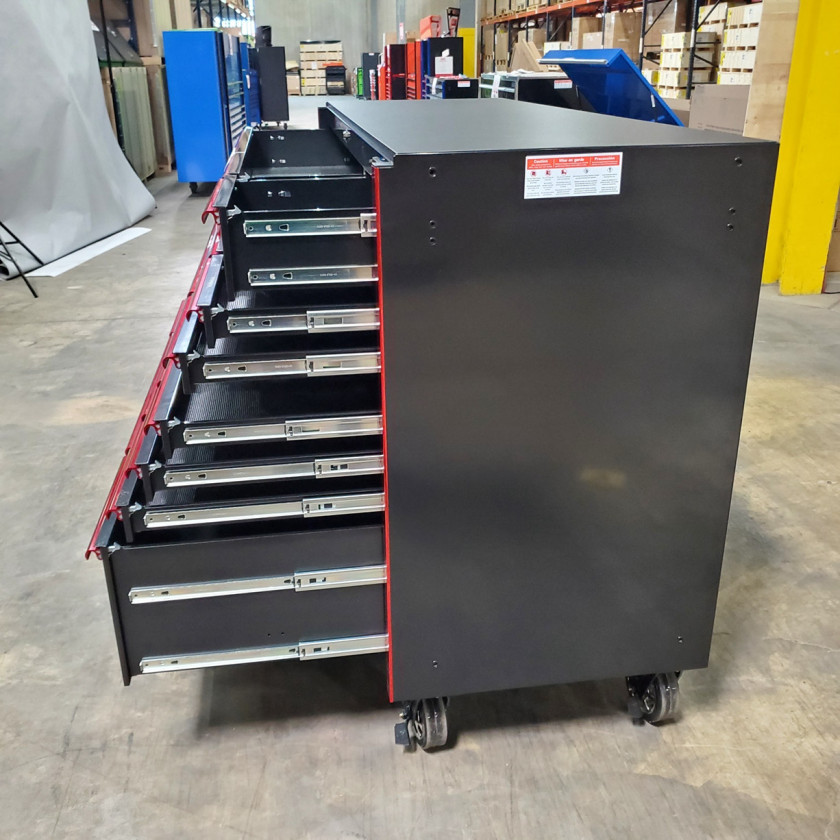 SD-RX722519RCBKRD - Showroom Demo - Extreme Tools RX Series 72 in. x 25 in. 19 Drawers Roller Cabinet, Orange, 150 lbs. Slides - Black-Red_22