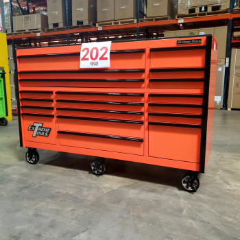 SD-RX722519RCORBK - Scratch & Dent - Extreme Tools RX Series 72 in. x 25 in. 19 Drawers Roller Cabinet, Orange, 150 lbs. Slides - Orange_02