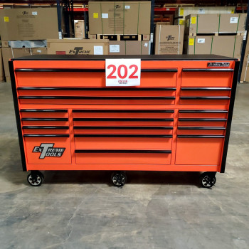 SD-RX722519RCORBK - Scratch & Dent - Extreme Tools RX Series 72 in. x 25 in. 19 Drawers Roller Cabinet, Orange, 150 lbs. Slides - Orange_03