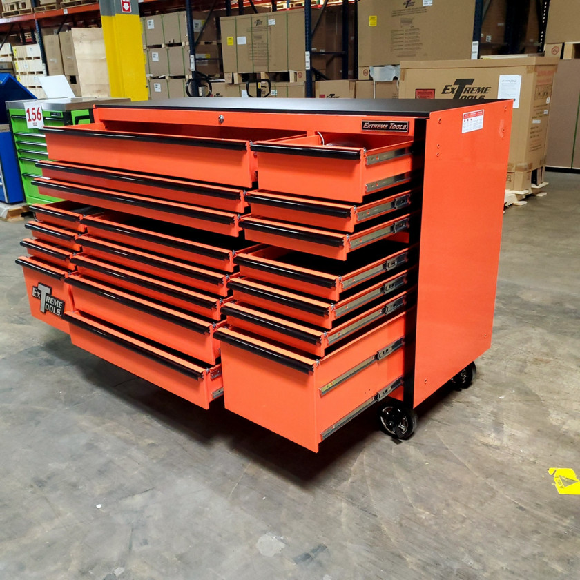 SD-RX722519RCORBK - Scratch & Dent - Extreme Tools RX Series 72 in. x 25 in. 19 Drawers Roller Cabinet, Orange, 150 lbs. Slides - Orange_09