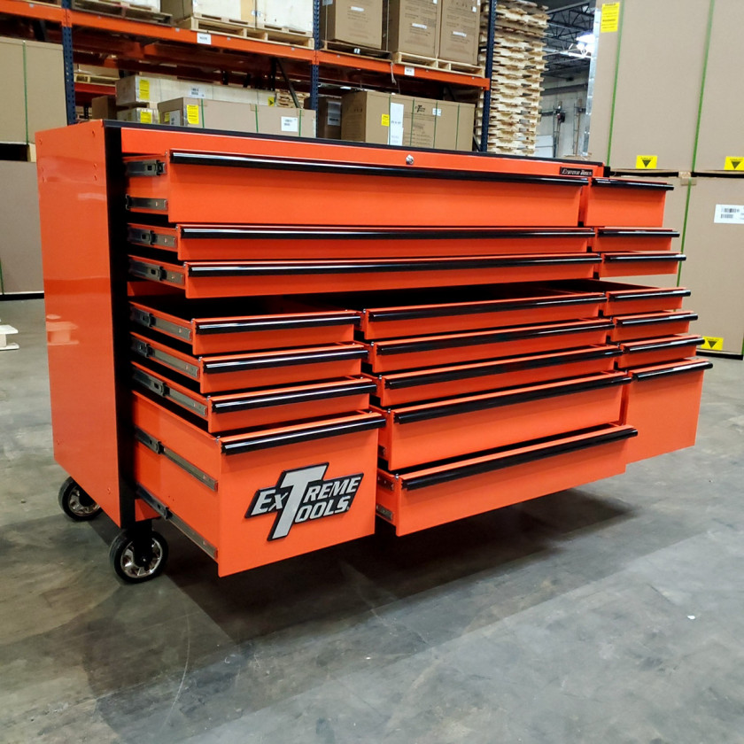 SD-RX722519RCORBK - Scratch & Dent - Extreme Tools RX Series 72 in. x 25 in. 19 Drawers Roller Cabinet, Orange, 150 lbs. Slides - Orange_10