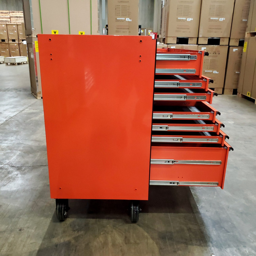 SD-RX722519RCORBK - Scratch & Dent - Extreme Tools RX Series 72 in. x 25 in. 19 Drawers Roller Cabinet, Orange, 150 lbs. Slides - Orange_11