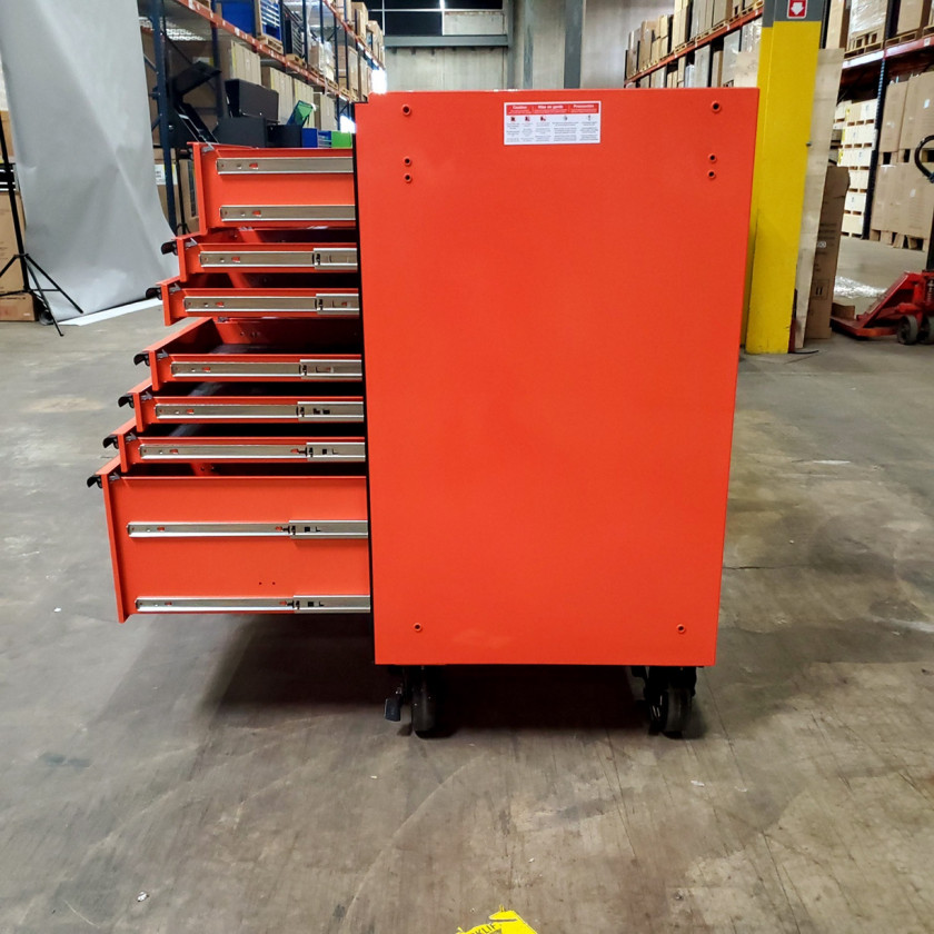 SD-RX722519RCORBK - Scratch & Dent - Extreme Tools RX Series 72 in. x 25 in. 19 Drawers Roller Cabinet, Orange, 150 lbs. Slides - Orange_12