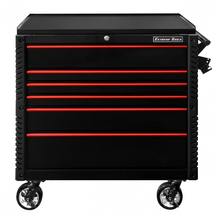 EX4106BKRD-FRONT-CLOSED - Extreme Tools 41 6-Drawer Deluxe Tool Cart with Pry Bar Holders And Flip Top