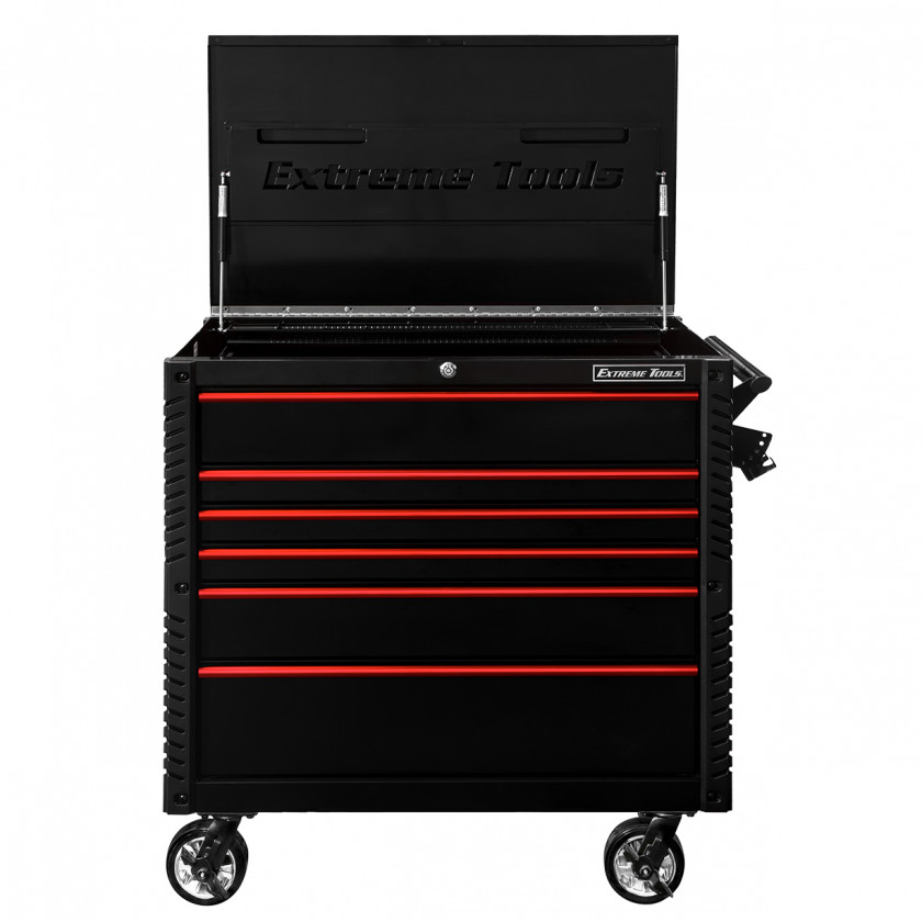 EX4106BKRD-OPEN-LID- - Extreme Tools 41 6-Drawer Deluxe Tool Cart with Pry Bar Holders And Flip Top