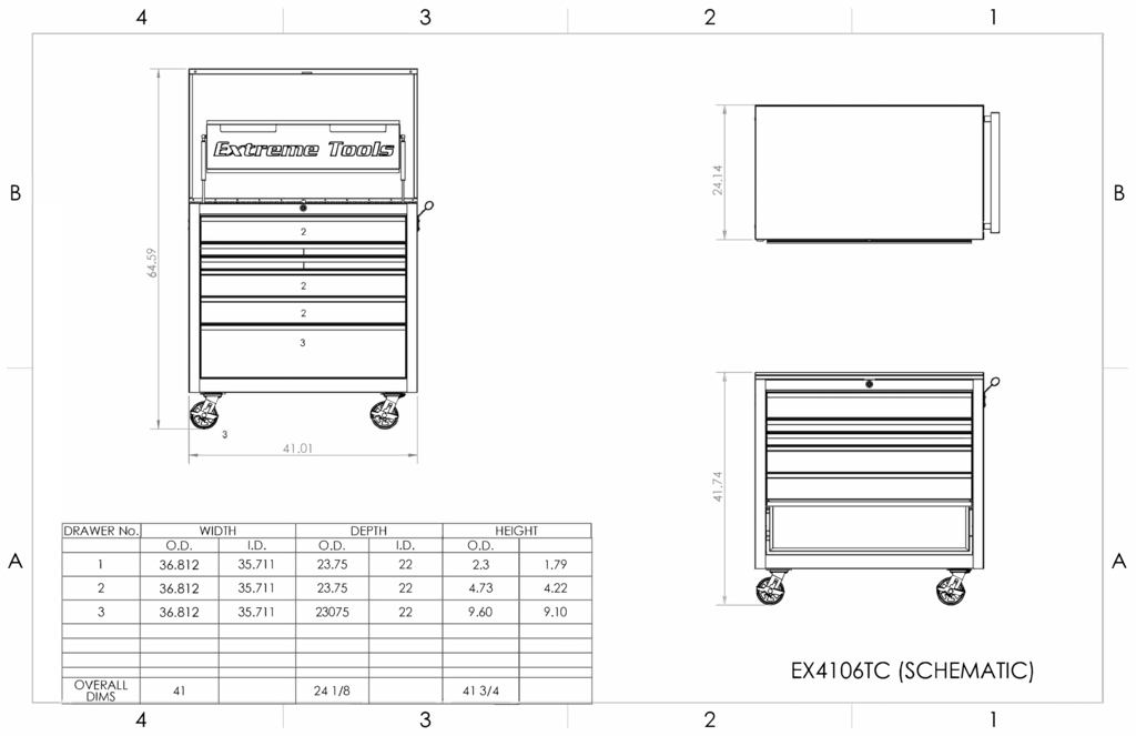 thumbnail of EX4106TC – Extreme Tools EX Professional Series 41in. 6 Drawer Flip Top Tool Cart – (SCHEMATIC)