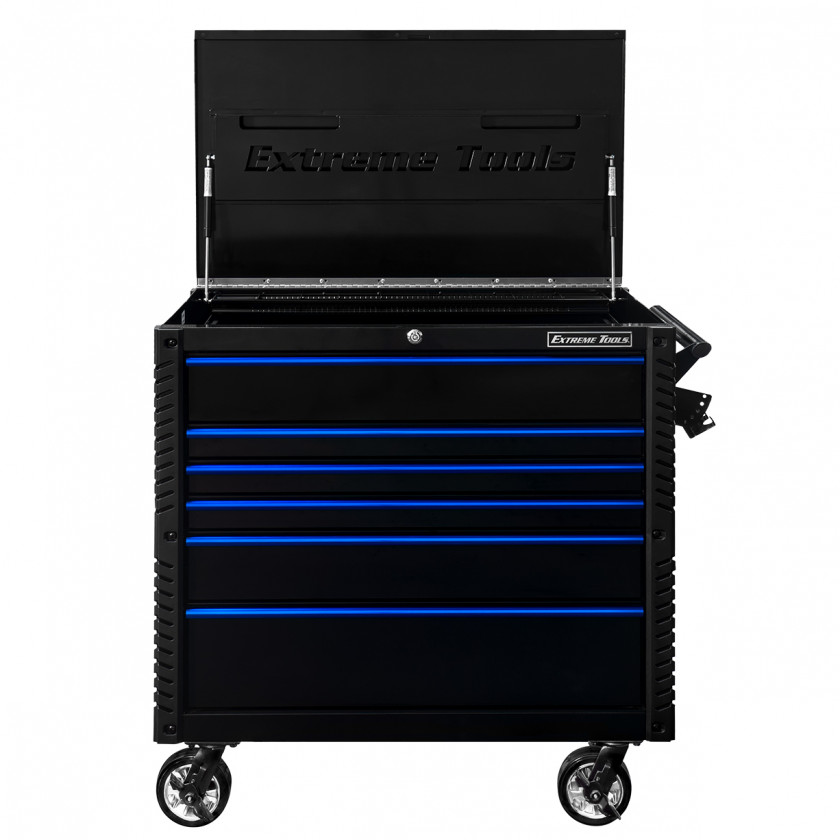 EX4106TCBKBL-FRONT-OPEN - Extreme Tools 41 6-Drawer Deluxe Tool Cart with Pry Bar Holders And Flip Top