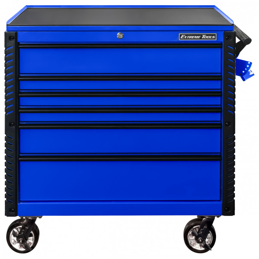 EX4106TCBLBK-FRONT-CLOSED - Extreme Tools 41 6-Drawer Deluxe Tool Cart with Pry Bar Holders And Flip Top