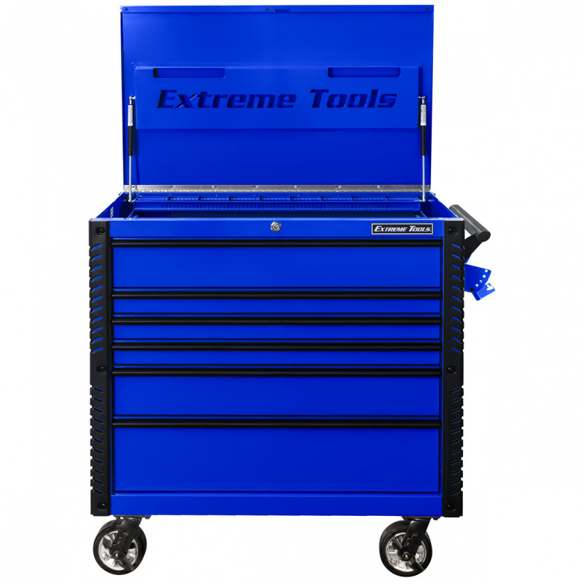 EX4106TCBLBK-FRONT-OPEN - Extreme Tools 41 6-Drawer Deluxe Tool Cart with Pry Bar Holders And Flip Top