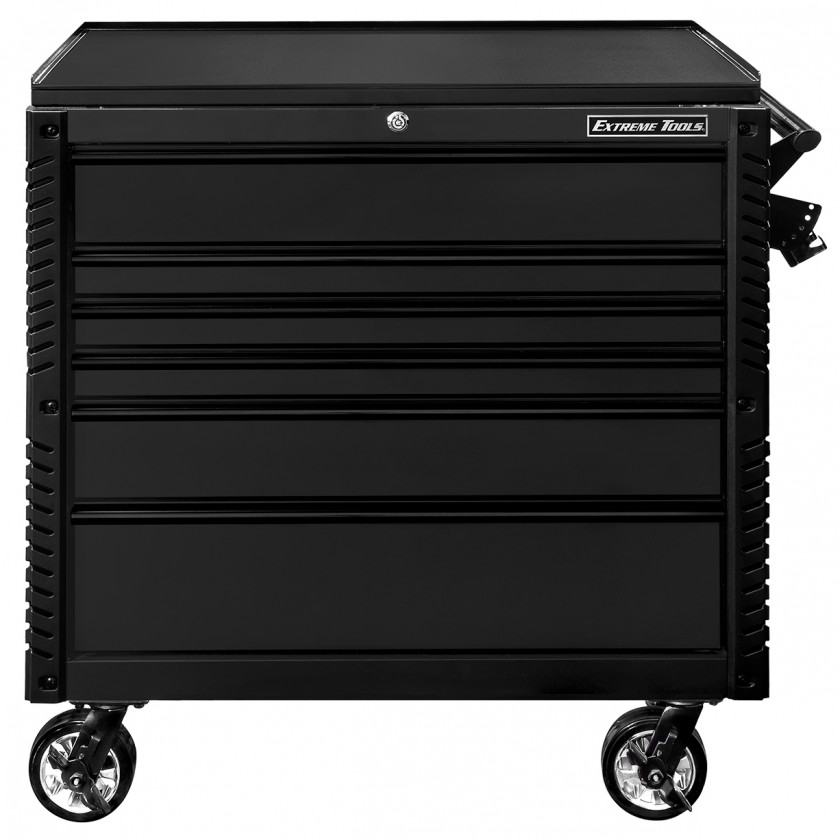 EX4106TCMBBK-Front-Closed - Extreme Tools 41 6-Drawer Deluxe Tool Cart with Pry Bar Holders And Flip Top