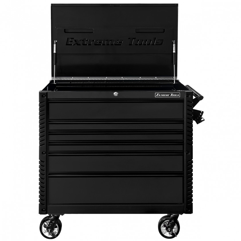 EX4106TCMBBK-Front-Open-Lid - Extreme Tools 41 6-Drawer Deluxe Tool Cart with Pry Bar Holders And Flip Top
