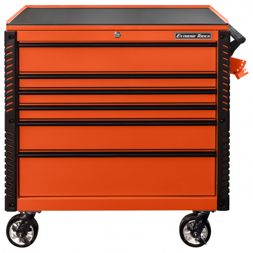 EX4106TCORBK-Front-Closed - Extreme Tools 41 6-Drawer Deluxe Tool Cart with Pry Bar Holders And Flip Top