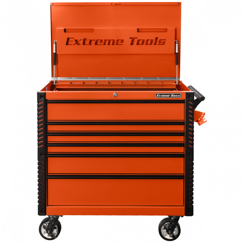 EX4106TCORBK-Front-Open - Extreme Tools 41 6-Drawer Deluxe Tool Cart with Pry Bar Holders And Flip Top