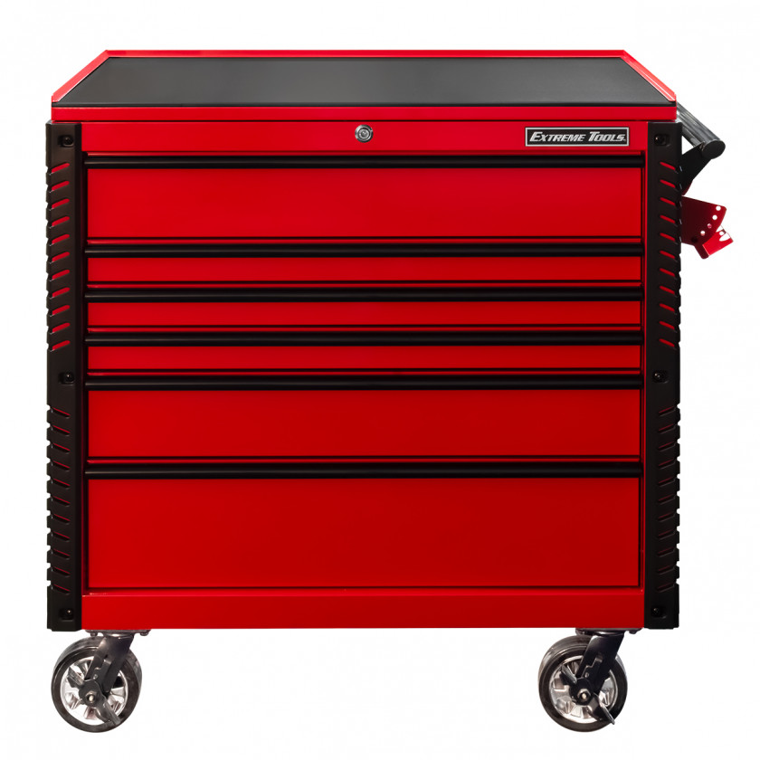EX4106TCRDBK-Front-Closed - Extreme Tools 41 6-Drawer Deluxe Tool Cart with Pry Bar Holders And Flip Top