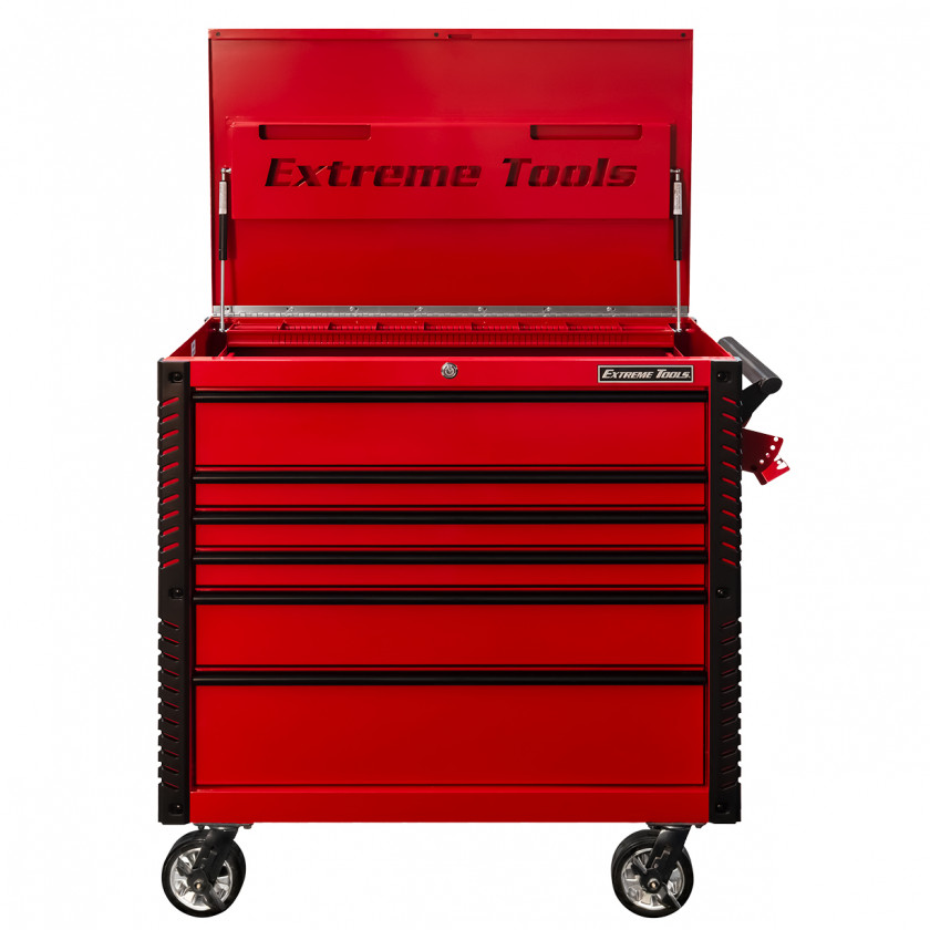 EX4106TCRDBK-Front-Open - Extreme Tools 41 6-Drawer Deluxe Tool Cart with Pry Bar Holders And Flip Top