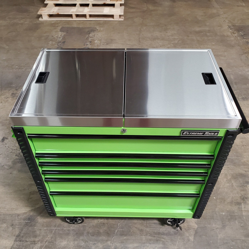 Scratch-and-Dent-Extreme-Tools-41-x-25-6-Drawer-Slide-Top-Tool-Cart-SD-EX4106TCS-Green-with-Black-Drawer-Pulls_23