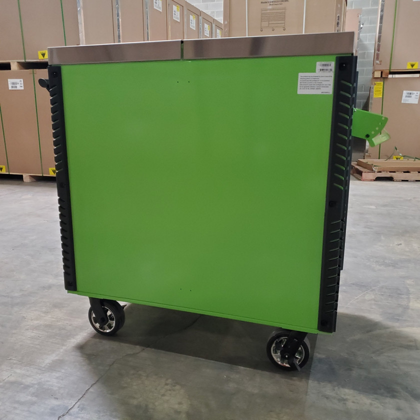 Scratch and Dent _ Extreme Tools 41 x 25 6-Drawer Slide Top Tool Cart - SD-EX4106TCS - Green with Black Drawer Pulls_21