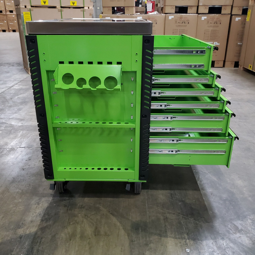 Scratch and Dent _ Extreme Tools 41 x 25 6-Drawer Slide Top Tool Cart - SD-EX4106TCS - Green with Black Drawer Pulls_24