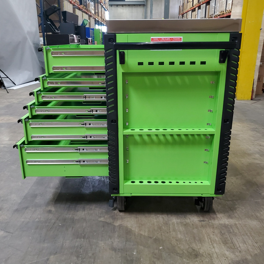 Scratch and Dent _ Extreme Tools 41 x 25 6-Drawer Slide Top Tool Cart - SD-EX4106TCS - Green with Black Drawer Pulls_25