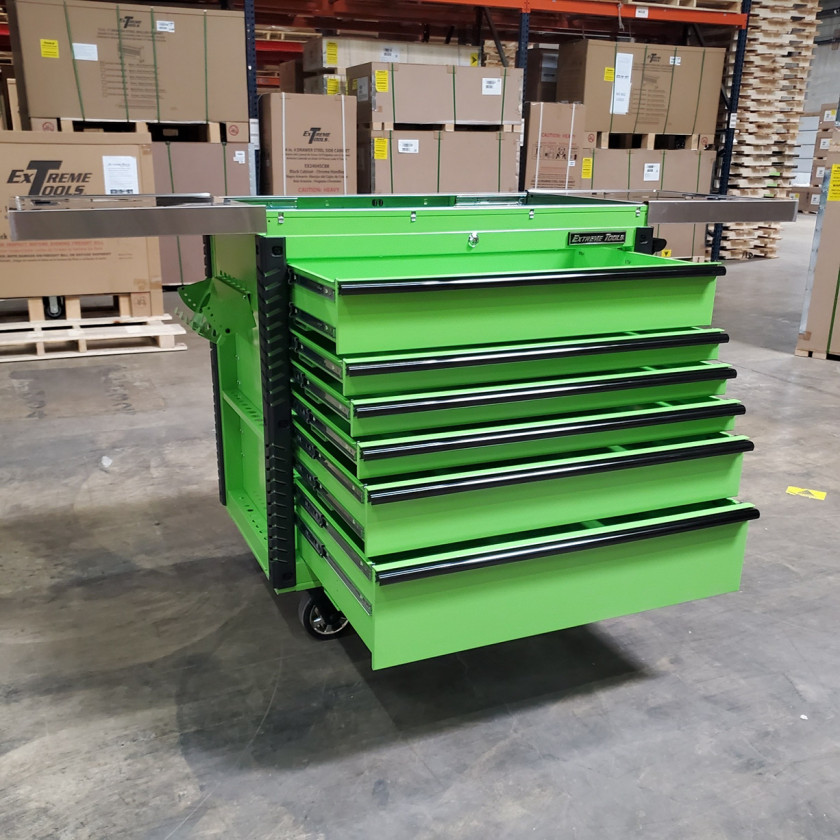 Scratch and Dent _ Extreme Tools 41 x 25 6-Drawer Slide Top Tool Cart - SD-EX4106TCS - Green with Black Drawer Pulls_26