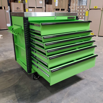 Scratch and Dent _ Extreme Tools 41 x 25 6-Drawer Slide Top Tool Cart - SD-EX4106TCS - Green with Black Drawer Pulls_27