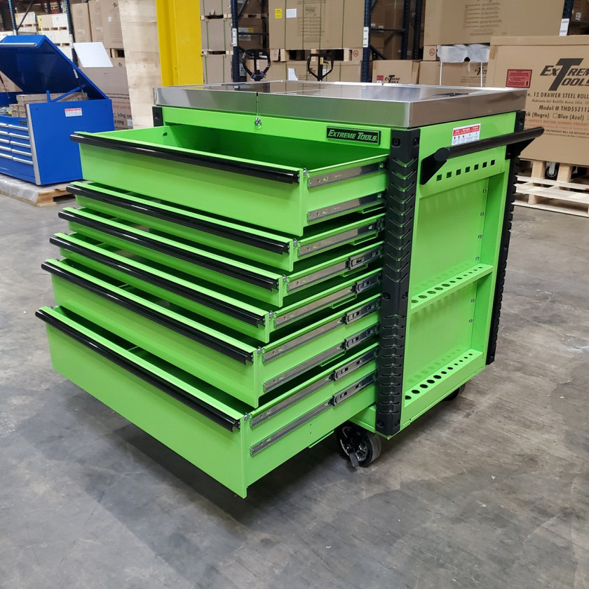 Scratch and Dent _ Extreme Tools 41 x 25 6-Drawer Slide Top Tool Cart - SD-EX4106TCS - Green with Black Drawer Pulls_29