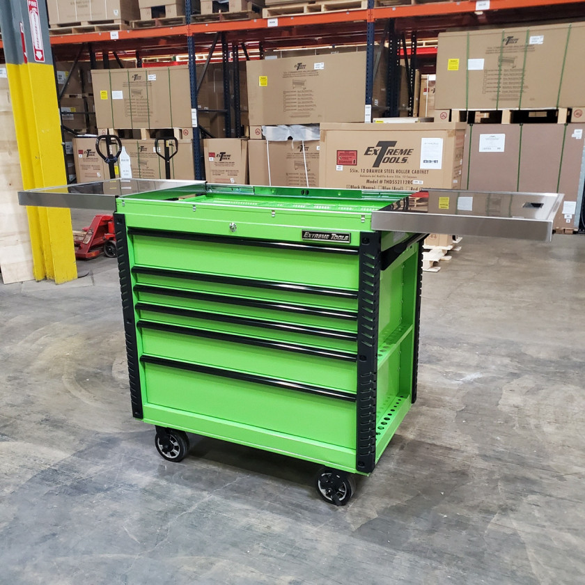 Scratch and Dent _ Extreme Tools 41 x 25 6-Drawer Slide Top Tool Cart - SD-EX4106TCS - Green with Black Drawer Pulls_30