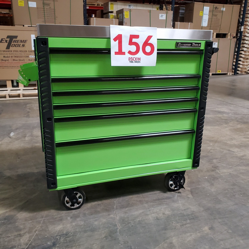 Scratch and Dent _ Extreme Tools 41 x 25 6-Drawer Slide Top Tool Cart - SD-EX4106TCS - Green with Black Drawer Pulls_31