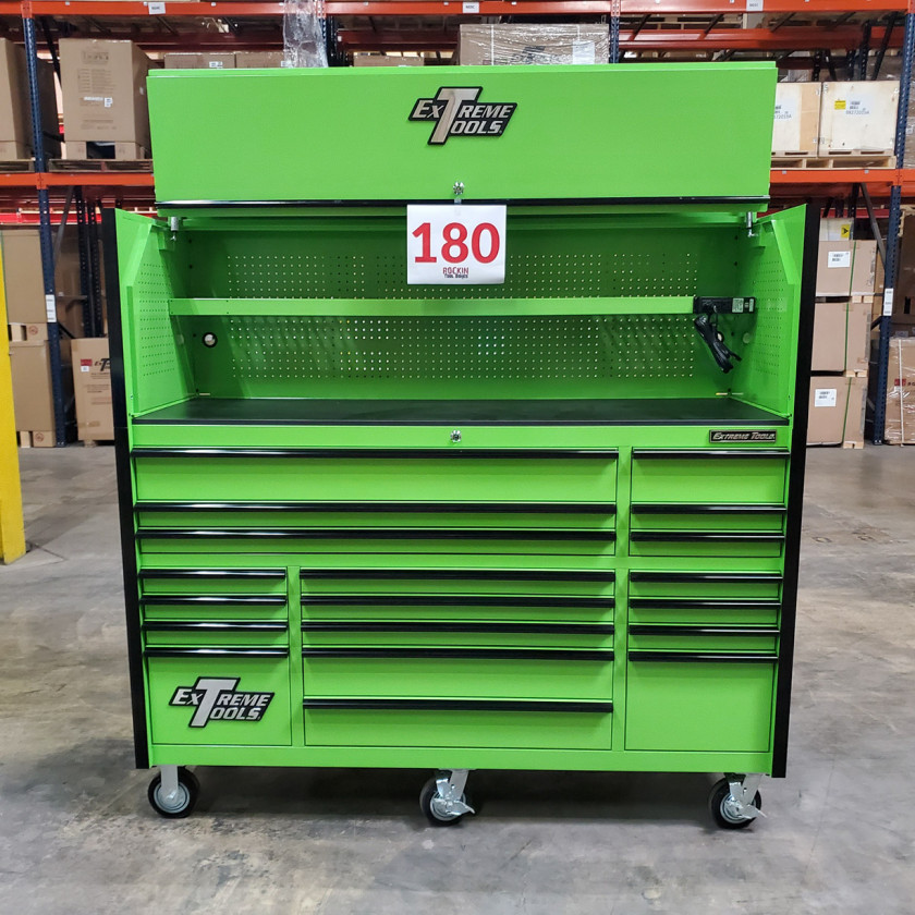 Showroom Demo Extreme Tools 72in. x 25in. Roller and Hutch Combo - Green-01