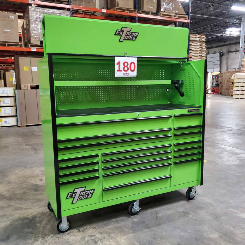 Showroom Demo Extreme Tools 72in. x 25in. Roller and Hutch Combo - Green-02