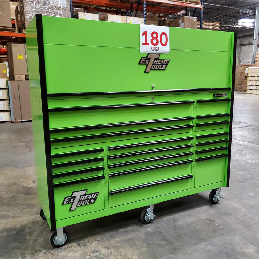 Showroom Demo Extreme Tools 72in. x 25in. Roller and Hutch Combo - Green-03