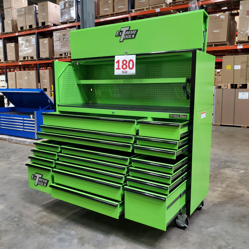 Showroom Demo Extreme Tools 72in. x 25in. Roller and Hutch Combo - Green-05