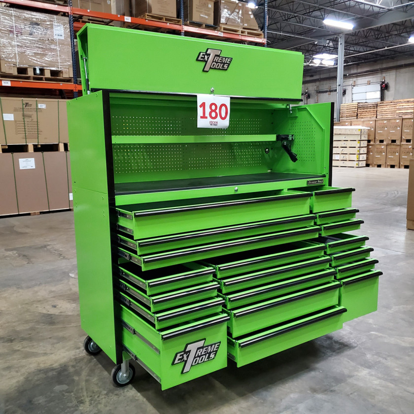 Showroom Demo Extreme Tools 72in. x 25in. Roller and Hutch Combo - Green-06