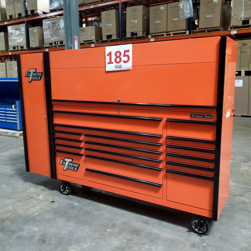 SD-DX722118HRSLORBK - Scratch and Dent _ Extreme Tools DX 72 x 21 17-Drawer Roller Cabinet - Hutch and Side Locker Combo - Orange with Black Drawer Pulls_00