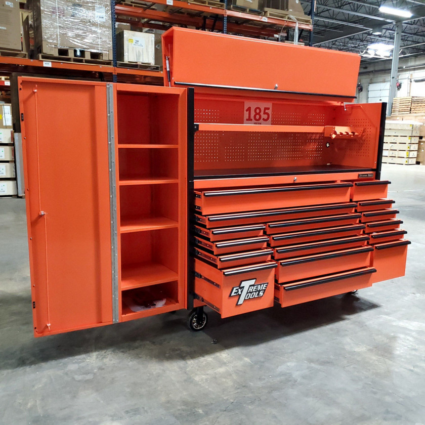 SD-DX722118HRSLORBK - Scratch and Dent _ Extreme Tools DX 72 x 21 17-Drawer Roller Cabinet - Hutch and Side Locker Combo - Orange with Black Drawer Pulls_03
