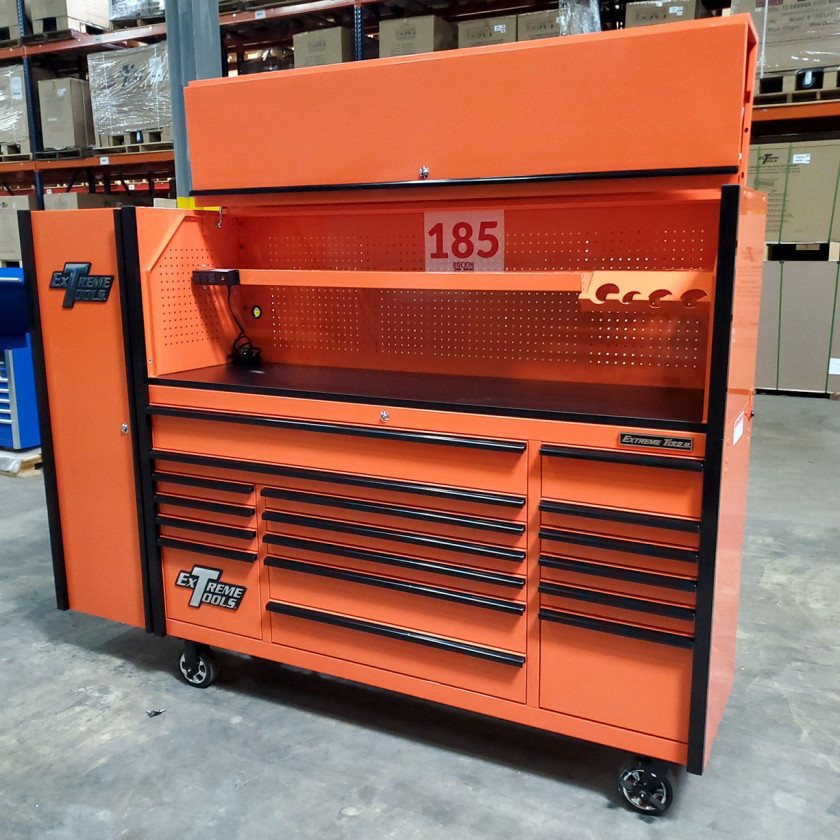 SD-DX722118HRSLORBK - Scratch and Dent _ Extreme Tools DX 72 x 21 17-Drawer Roller Cabinet - Hutch and Side Locker Combo - Orange with Black Drawer Pulls_10