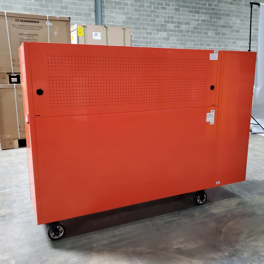 SD-DX722118HRSLORBK - Scratch and Dent _ Extreme Tools DX 72 x 21 17-Drawer Roller Cabinet - Hutch and Side Locker Combo - Orange with Black Drawer Pulls_11