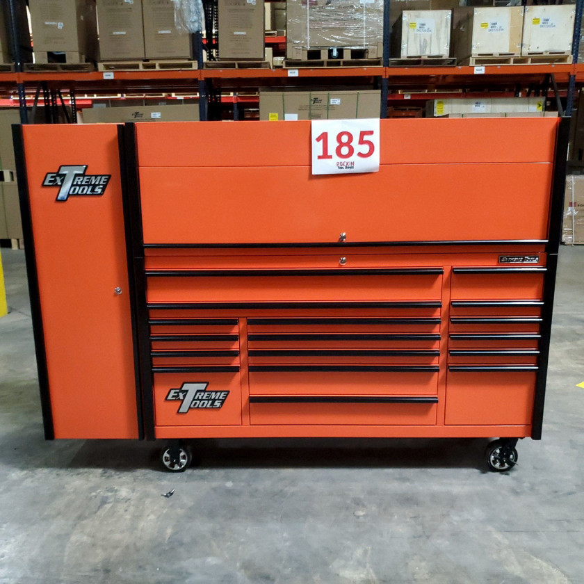 SD-DX722118HRSLORBK - Scratch and Dent _ Extreme Tools DX 72 x 21 17-Drawer Roller Cabinet - Hutch and Side Locker Combo - Orange with Black Drawer Pulls_13