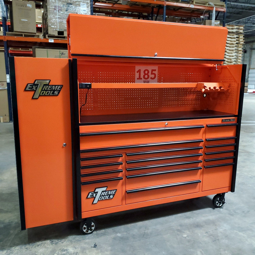 SD-DX722118HRSLORBK - Scratch and Dent _ Extreme Tools DX 72 x 21 17-Drawer Roller Cabinet - Hutch and Side Locker Combo - Orange with Black Drawer Pulls_8