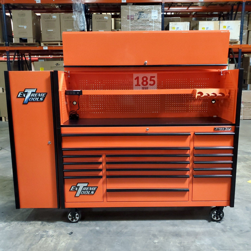 SD-DX722118HRSLORBK - Scratch and Dent _ Extreme Tools DX 72 x 21 17-Drawer Roller Cabinet - Hutch and Side Locker Combo - Orange with Black Drawer Pulls_9