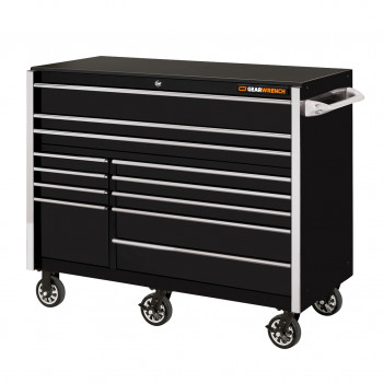 GW552512RCBKC- GearWrench GW Series 55in. 12 Drawer Roller Cabinet - Black with Chrome