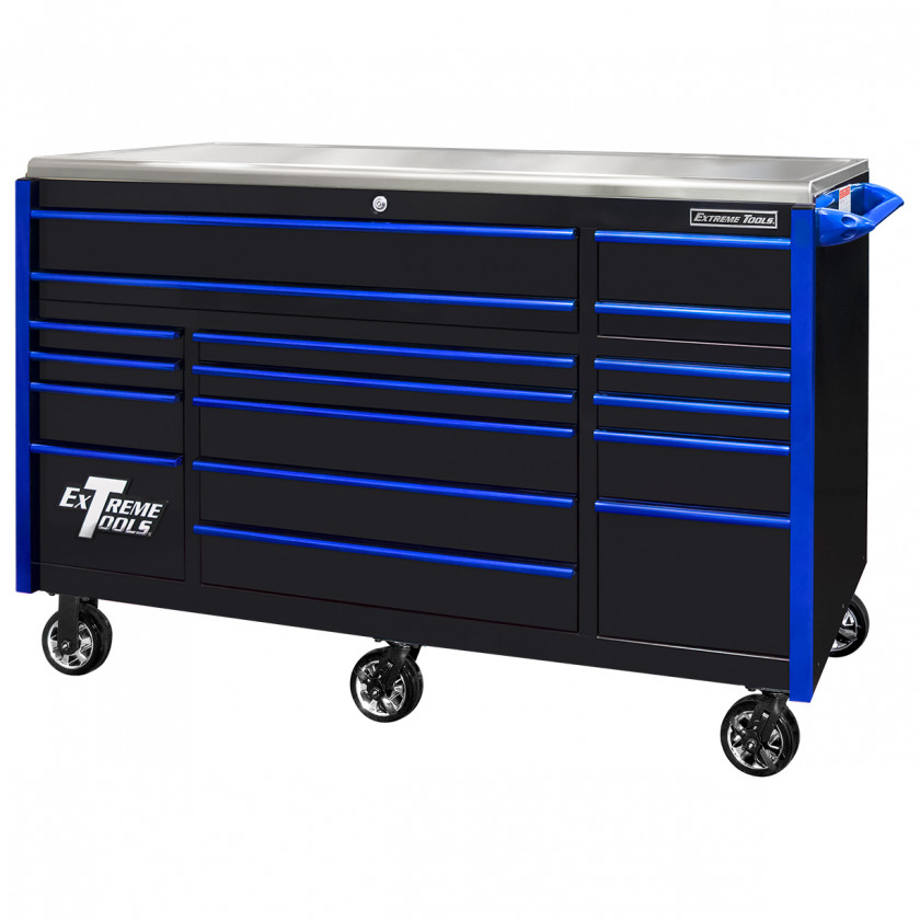 EX7217RCQBKBL-Closed - Extreme Tools EX Professional Series 72 x 30 inch Roller Cabinet with 300-600 lbs Drawer Slides - RockinToolBoxes