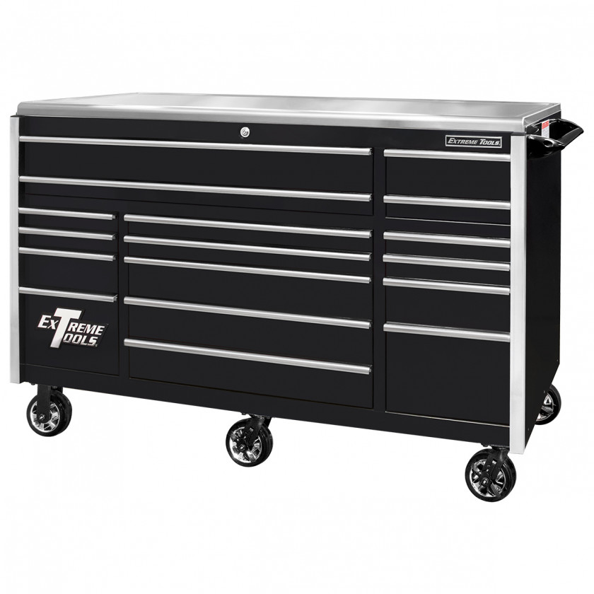 EX7217RCQBKCR-Closed- Extreme Tools EX Professional Series 72 x 30 inch Roller Cabinet with 300-600 lbs Drawer Slides - RockinToolBoxes