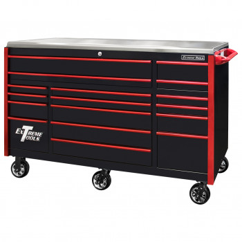 EX7217RCQBKRD-Closed - Extreme Tools EX Professional Series 72 x 30 inch Roller Cabinet with 300-600 lbs Drawer Slides - RockinToolBoxes