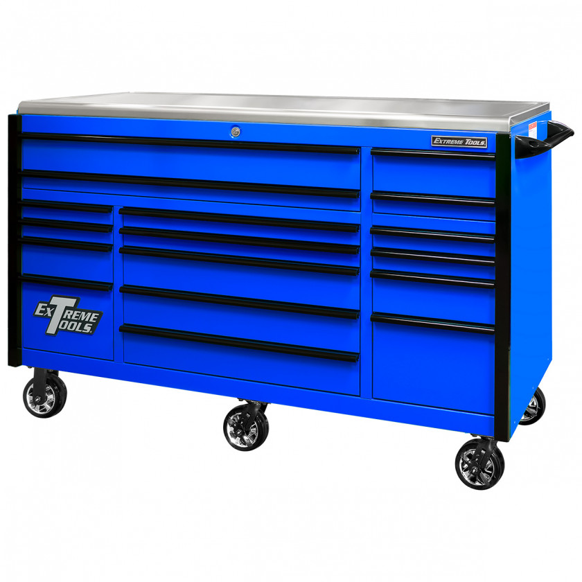 EX7217RCQBLBK-Closed- Extreme Tools EX Professional Series 72 x 30 inch Roller Cabinet with 300-600 lbs Drawer Slides - RockinToolBoxes