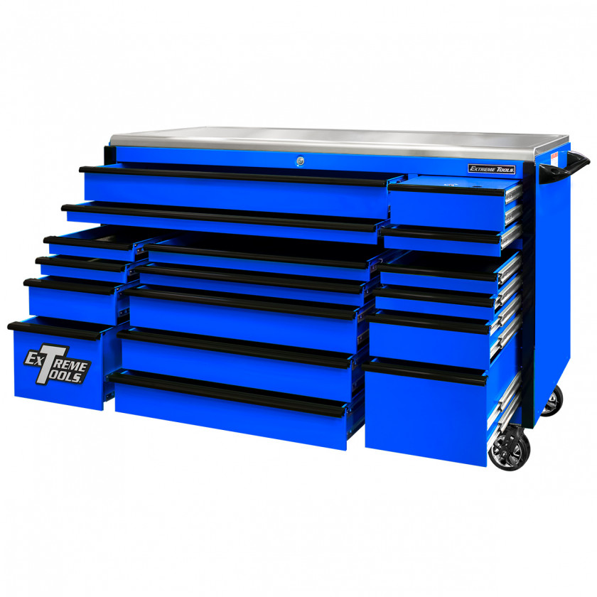EX7217RCQBLBK-Open - Extreme Tools EX Professional Series 72 x 30 inch Roller Cabinet with 300-600 lbs Drawer Slides - RockinToolBoxes