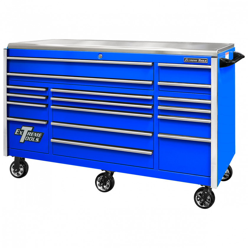 EX7217RCQBLCR-Closed - Extreme Tools EX Professional Series 72 x 30 inch Roller Cabinet with 300-600 lbs Drawer Slides - RockinToolBoxes